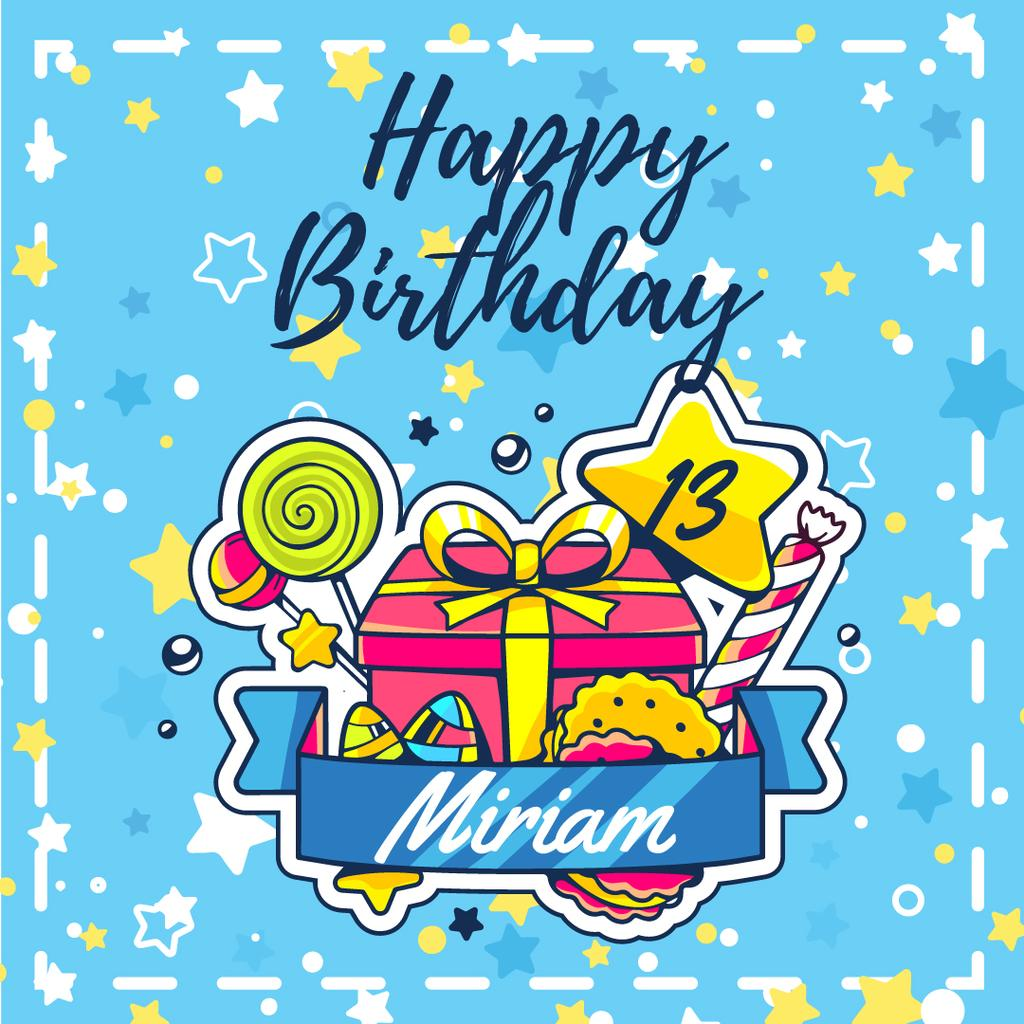 Happy Birthday Greeting Card Instagram Ad Template Design Online