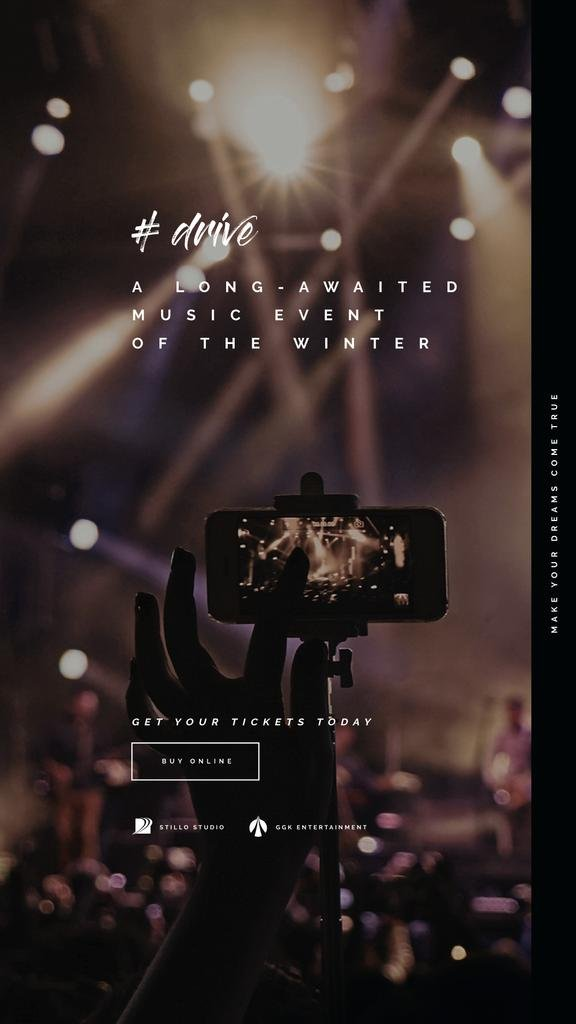 Music Event Invitation with Shooting Concert on Phone | Vertical Video Template — Crear un diseño