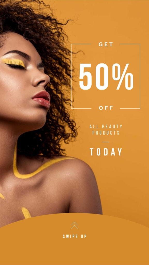 Beauty Products Ad with Woman with Yellow Makeup Instagram Storyデザインテンプレート