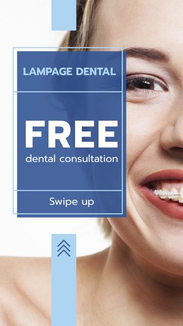 Dental Clinic promotion Woman in Braces smiling Instagram Story Modelo de Design