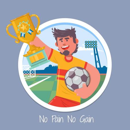 Ontwerpsjabloon van Animated Post van Football player with trophy cup