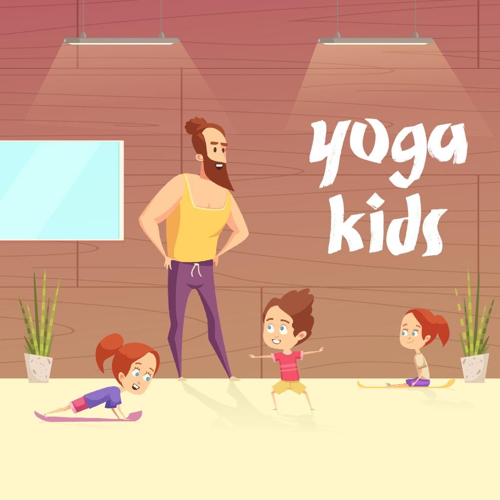 Kids doing yoga with coach — Create a Design