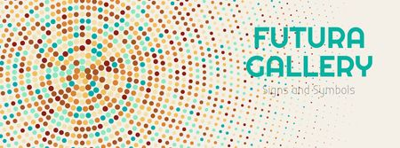 Plantilla de diseño de Art Gallery Ad with Colorful Dots in Circles Facebook cover