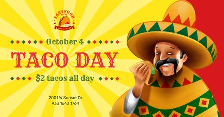 Plantilla de diseño de Taco Day Offer Man in Sombrero Eating Taco Facebook AD