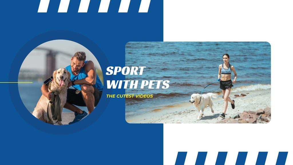 Sports with Pets Inspiration People Running with Dogs — Створити дизайн