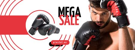 Ontwerpsjabloon van Facebook cover van Sport Equipment Sale Man in Boxing Gloves
