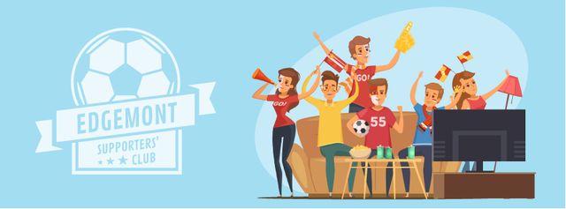 Modèle de visuel Fans watching Sports event on TV - Facebook Video cover