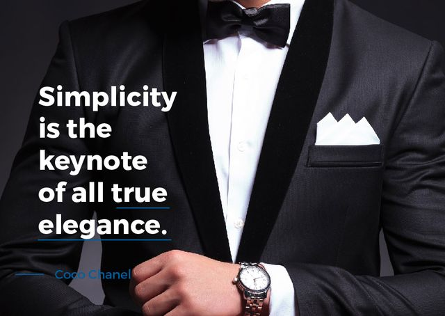 Fashion Quote with Man in Formal Wear Card Design Template
