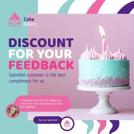 Ontwerpsjabloon van Instagram van Bakery Ad Birthday Cake with Burning Candle