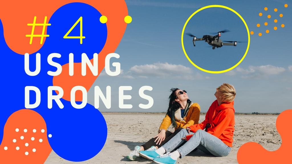 Tech Ad People Launching Drone — Create a Design