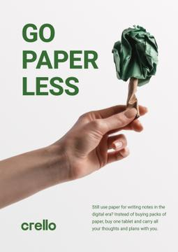 Paper Saving Concept Hand with Paper Tree
