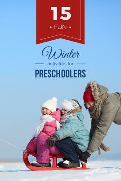 Father with kids having fun in winter