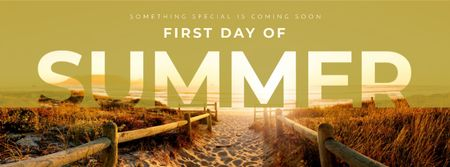 Template di design First day of summer with beautiful coast Facebook cover