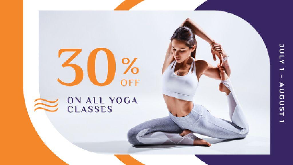 Plantilla de diseño de Lesson Offer with Woman Practicing Yoga Title