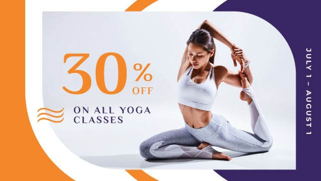 Designvorlage Lesson Offer with Woman Practicing Yoga für Title