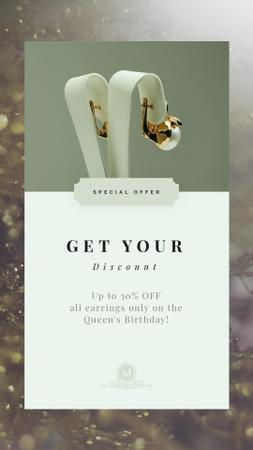 Queen's Birthday Sale Jewelry with Diamonds and Pearls Instagram Video Story Modelo de Design
