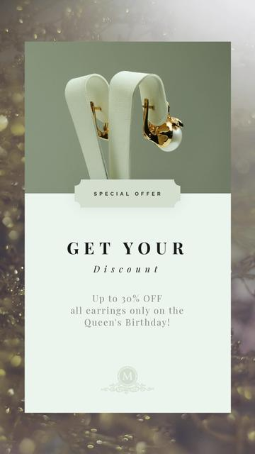 Template di design Queen's Birthday Sale Jewelry with Diamonds and Pearls Instagram Video Story