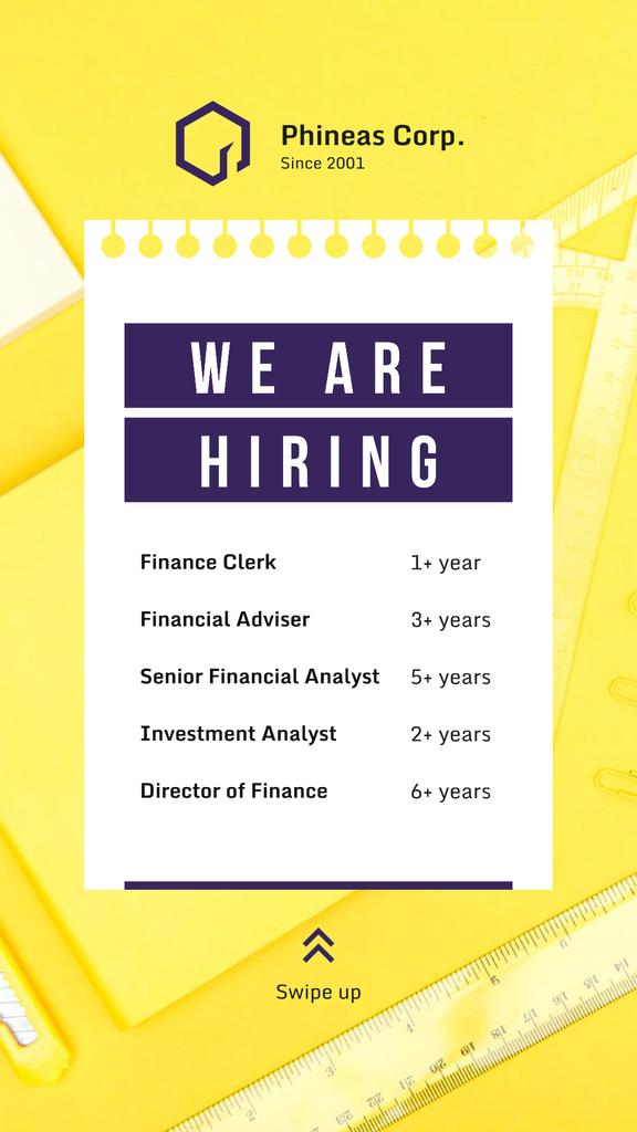 Template di design Hiring Offer on Working Table in Yellow Instagram Story