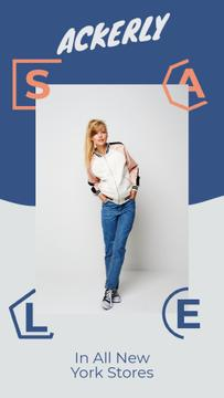 Clothes Store Ad Attractive Woman in Denim Clothes | Vertical Video Template