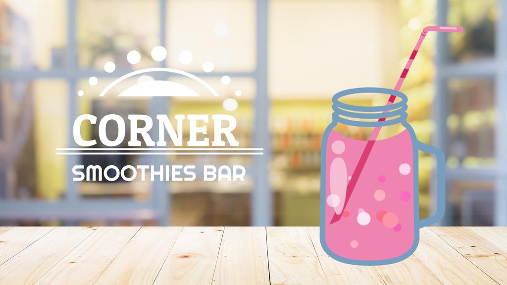 Pink drink in glass jar on table — ein Design erstellen