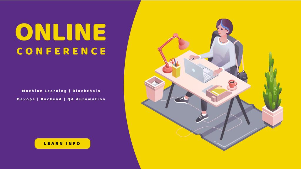 Online Conference invitation with Woman at workplace — Maak een ontwerp