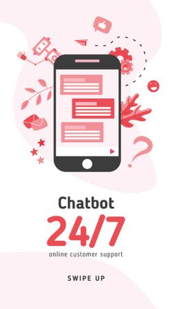 Plantilla de diseño de Online Chat on Phone Screen Instagram Story
