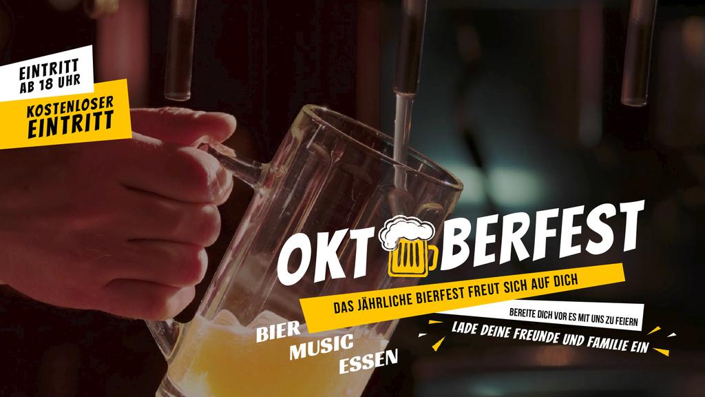 Oktoberfest Offer Pouring Beer in Glass Mug — Створити дизайн