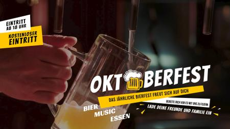 Oktoberfest Offer Pouring Beer in Glass Mug Full HD video Modelo de Design
