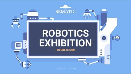 Plantilla de diseño de Robotics Exhibition Ad Automated Production Line Title