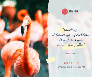 Travelling Quote with Pink Flamingo Birds | Facebook Post Template