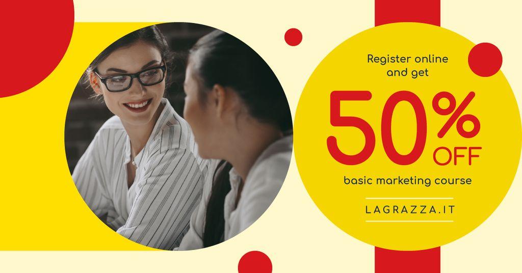 Education Courses Ad Friendly Women Talking — Créer un visuel