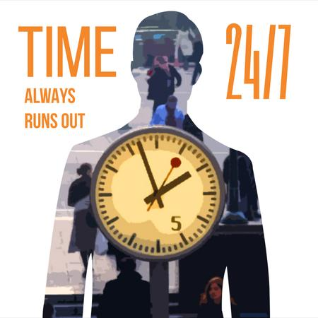 Template di design Double exposure of Man silhouette and clock Animated Post