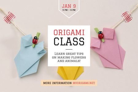 Origami class Annoucement Gift Certificate Design Template