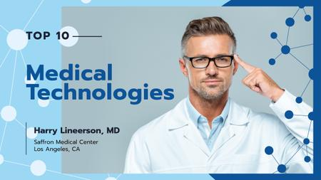 Modern Medical Technologies Doctor in Glasses Youtube Thumbnail Modelo de Design