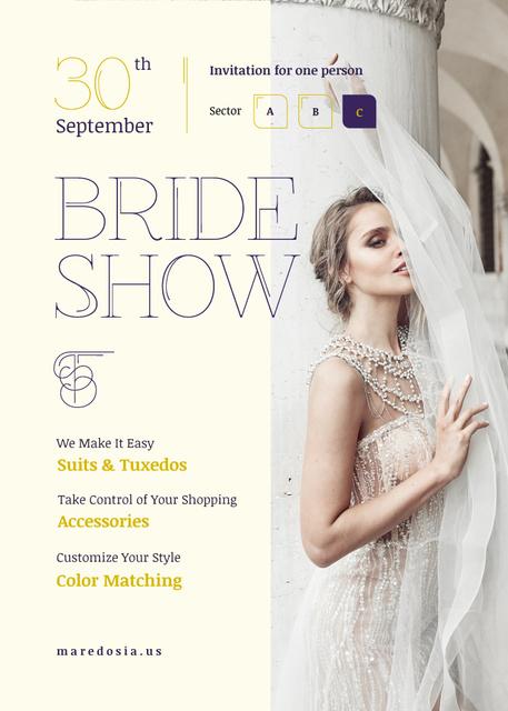 Plantilla de diseño de Wedding Fashion Show Invitation Bride in White Dress Invitation
