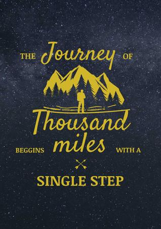 Ontwerpsjabloon van Poster van Journey Inspiration with Traveler in Mountains