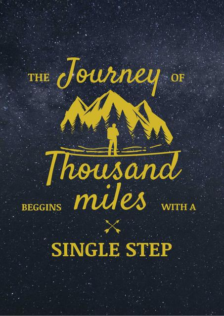 Designvorlage Journey Inspiration with Traveler in Mountains für Poster