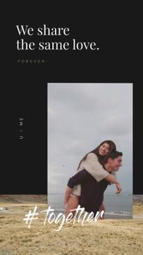 Happiness Concept with Loving Couple at the Beach | Vertical Video Template
