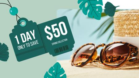 Sunglasses Sale Ad Stylish Vintage Glasses FB event cover Design Template
