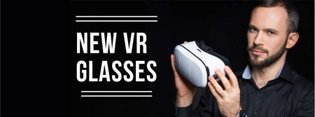 Man using vr glasses Facebook cover Modelo de Design