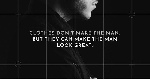 Plantilla de diseño de Citation about Man's clothes Facebook AD