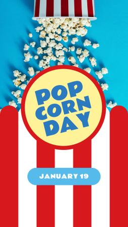 Ontwerpsjabloon van Instagram Story van Pop corn Day with Hot popcorn in carton