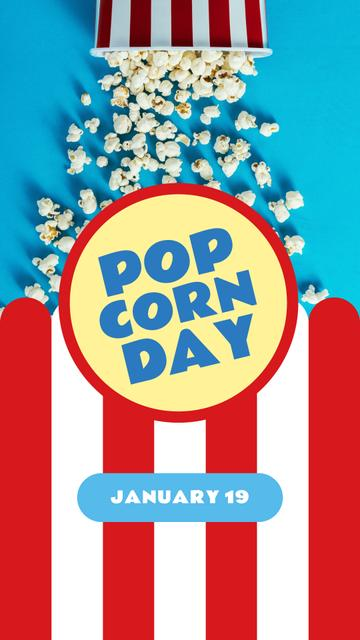 Plantilla de diseño de Pop corn Day with Hot popcorn in carton Instagram Story