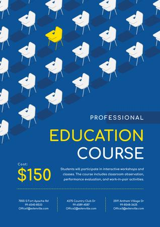 Education Course Promotion with Desks in Rows Poster – шаблон для дизайну