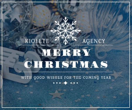 Template di design Christmas Greeting Shiny Decorations in Blue Medium Rectangle