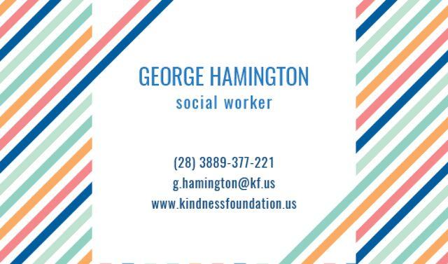 Social Worker Services Offer Business card Tasarım Şablonu