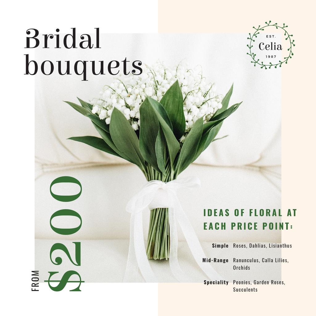 Florist Services Ad Wedding Bouquet with Lily of the Valley | Instagram Post Template — Створити дизайн