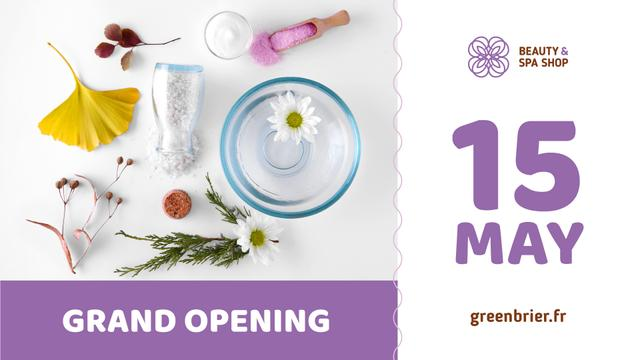 Modèle de visuel Beauty Spa Shop Opening Ad with Natural Skincare Products - FB event cover