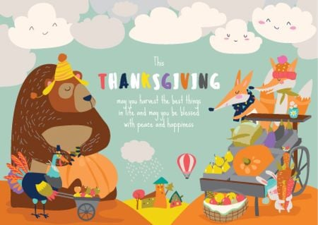 Ontwerpsjabloon van Card van Animals celebrating Thanksgiving