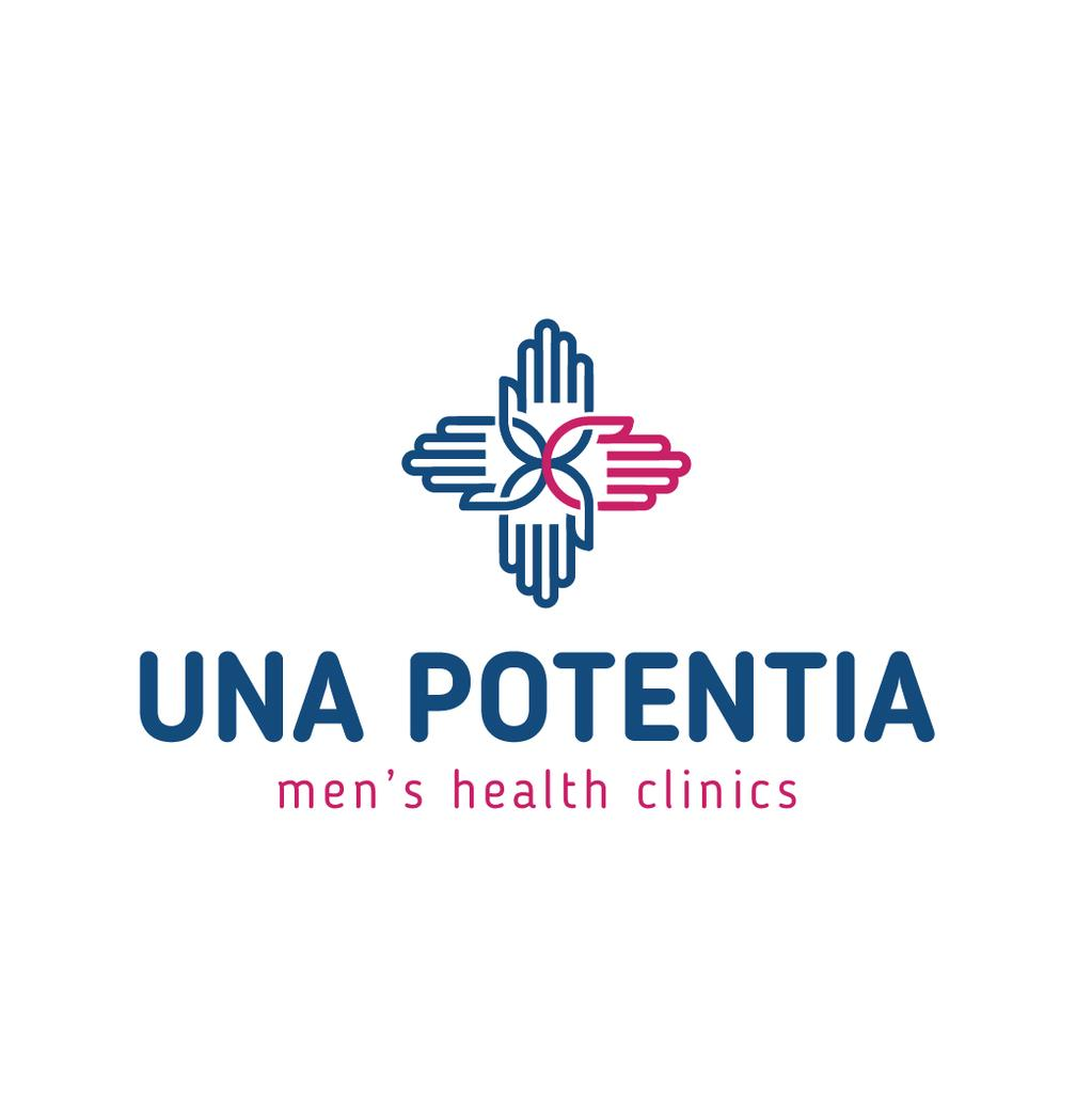 Template di design Men's Health Clinic with hands in Cross Logo